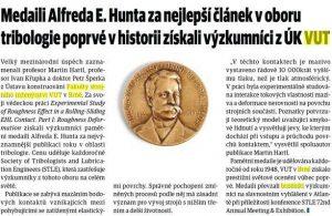 Technický týdeník: Medaile pro tribology z Brna